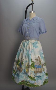 1950s cotton skirt 50s novelty print size medium Vintage full skirt sailboats
