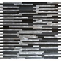 Machined Silver & Gray Aluminum Waterfall Mosaic Tile
