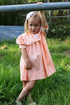 Little Girls Peach Batiste and Lace Dress | TheGypsyCottage - Clothing on ArtFire