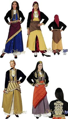Four traditional costumes from the Pontos (Black Sea) region. Clothing style: Rum (Anatolian Greek), early 20th century. These are contemporary workshop-made copies, as worn by folk dance groups. (Source: Stamco Costumes; www.greek-costumes.com). Dance Costumes, Greek Costumes, Dna History, Bronze Age Collapse, Gypsy Costume, Greek Culture, Folk Dance, Black Sea, Traditional Dresses