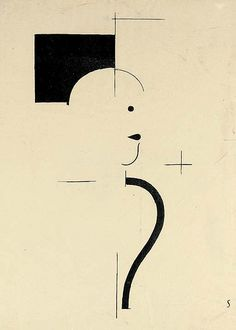 """Figure to the Right"" ~ by Oskar Schlemmer who was a German painter, sculptor, designer and choreographer associated with the Bauhaus school. In 1923 he was hired as Master of Form at the Bauhaus theatre workshop, after working some time at the workshop of sculpture."