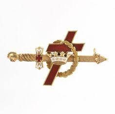 Knights Templar Sword Badge Pin - 14k Gold York Rite Antique c.1900-10 Masonic