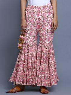 Pink Hand Block Printed Cotton Sharara