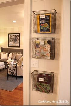 Friday: Southern Living Idea House in Senoia, GA - Southern Hospitality Feature Friday: Southern Living Idea House in Senoia, GA - Southern Hospitality,Feature Friday: Southern Living Idea Hou. Decor, House, Home Organization, Home Diy, Storage, Southern Living Homes, Southern Living, Wire Wall Basket, Home Decor