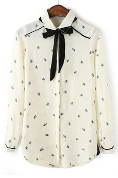 Honeybee Button-up Chiffon Shirt by OASAP omg its cute @Lizzy Liz Liz