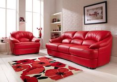 Furniture Red Leather Sofa Color With Floral Pattern Rug And Painting On The Wall Determining the Stunning Sofa for Sale With the Original Leather Material