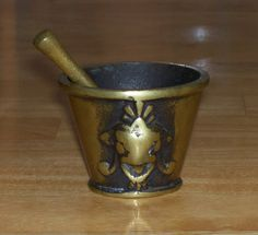 Vintage brass mortar and pestle small made by OnPointCollectibles