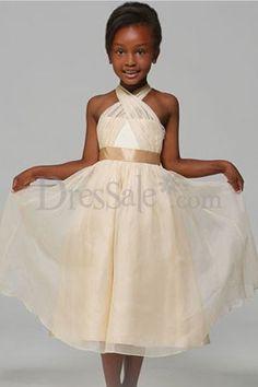 Organza Tea-length Champagne Flower Girl Dresses