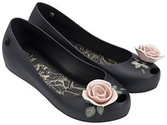 Melissa Womens Ultragirl  Beauty And The Beast Flat Shoe Black Patent Pink Size 8 >>> Check out the image by visiting the link. Note:It is Affiliate Link to Amazon.