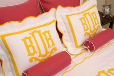 monogram blush & lemon yellow