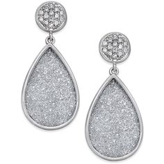Diamond Glitter Drop Earrings (1/8 ct. t.w.) in Sterling Silver ($275) ❤ liked on Polyvore featuring jewelry, earrings, accessories, sterling silver, stud drop earrings, teardrop earrings, round stud earrings, drop earrings and glitter stud earrings