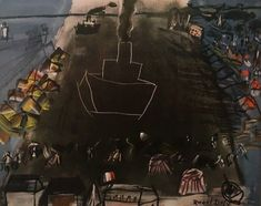 """1954 Vintage Full Color Art Plate /""""BLACK FREIGHTER II/"""" by RAOUL DUFY Lithograph"""