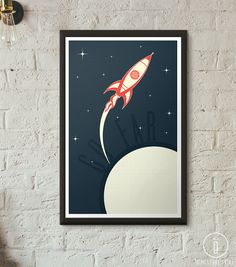 Go Far - 11 x 17, 24 x 36, or request custom sizing. This retro rocket print will look good in any room, whether its your childs bedroom, a