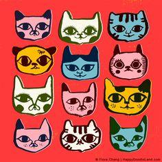 12 Kitties, art print by flora chang | HappyDoodleLand on Etsy