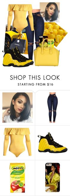"""i pull up wit a lemon, not that she aint livin --rihanna"" by dajahmf ❤ liked on Polyvore featuring WithChic, Sans Souci, NIKE and Givenchy"