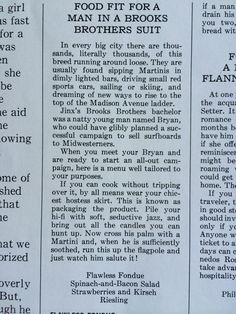 """Ladies' Home Journal food advice for single educated urban girls hoping to """"catch"""" MadMen types, June 1965, (p. 90)."""