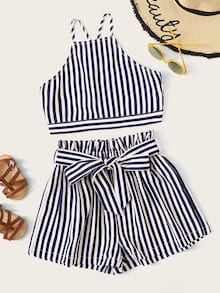To find out about the Girls Striped Criss-cross Top & Belted Shorts Set at SHEIN, part of our latest Girls Two-piece Outfits ready to shop online today! Cute Girl Outfits, Cute Casual Outfits, Outfits For Teens, Stylish Outfits, Teenager Outfits, Girls Fashion Clothes, Summer Fashion Outfits, Girl Fashion, Preteen Fashion