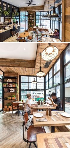Built-in seating is combined with tables and chairs to maximize the seating options in this cafe.