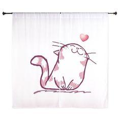 Kitty Love Curtains on CafePress.com