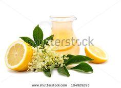 Glass of natural elderflower and lemon