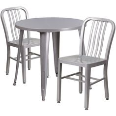 IHome Brimmes Round 30u0027u0027 Silver Metal Table Set W/2 Vertical Slat Back