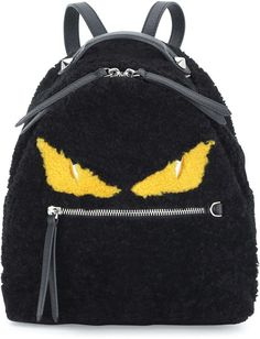 fendi mini monster shearling fur backpack black