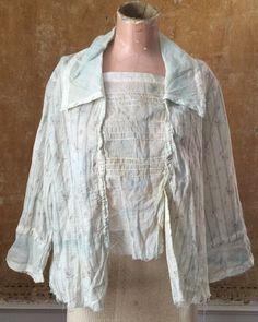 Antique Edwardian Blue Floral Chintz Print Cotton Dress Blouse Shirt Garden Vtg | eBay