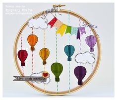 Embroidery hoop, twine, washi tape & hot air balloons ~ what's not to love!