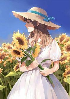 Nice use of colors to really make this female anime/manga character stand out. Manga Anime, Manga Girl, Anime Chibi, Kawaii Anime Girl, Anime Art Girl, Anime Girls, Anime Disney, Mode Poster, Anime Flower
