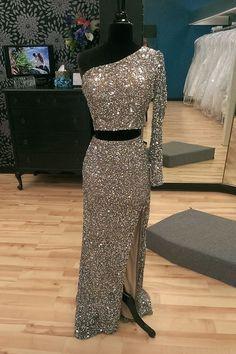 Dressywe Sparkling One Shoulder Two-piece Split Mermaid Silver Prom Party Dress