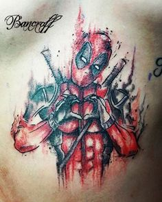 awesome Watercolor tattoo - Deadpool acuarelable. watercolor por Bancroff tatuajes...