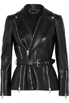 Shop Alexander McQueen belted biker jacket on Farfetch Hong Kong and take advantage of fast delivery and free returns. Best Leather Jackets, Designer Leather Jackets, Alexander Mcqueen Designs, Embroidered Denim Jacket, Color Negra, Designing Women, Mantel, Black Leather, Real Leather