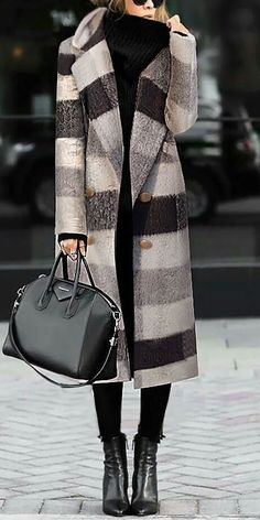 Long coat how to wear plaid pattern and solid color style coats you can option. Ee shipping worldwide over. Shop now! Fashion Week, Look Fashion, Fashion Outfits, Womens Fashion, Fashion Trends, Fall Fashion, Fashion Pics, Mode Chic, Mode Style