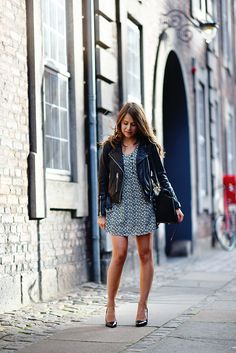 Pumps with a dress and moto jacket