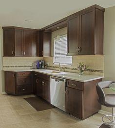 Photo courtesy of Brianna Hogberg, KSI Designer. Merillat Masterpiece Martel Cherry in Kaffe. Transitional Kitchen, Beautiful Space, Kitchen And Bath, Kitchen Design, Kitchens, Cherry, Kitchen Cabinets, Projects, Home Decor