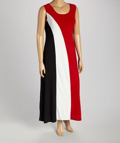 Love this Red & Black Color Block Sleeveless Maxi Dress - Plus on #zulily! #zulilyfinds