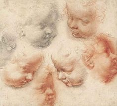 Alessandro Casolani (Siena 1552-1606). Studies of the heads of putti, black and red chalk, watermark crossed arrows with star (close to Briquet 6296, Florence, 1626-28), 21.7 x 23.6 cm.
