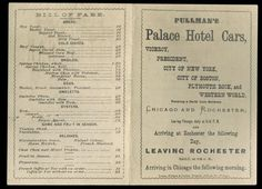 Palace Hotel Car Menu