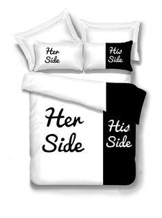 His Side Her Side Bedding Duvet Cover Set White Duvet Covers, Bed Duvet Covers, Bed Sets, Pottery Barn, Black White Bedding, Side Bed, Double Bed Sheets, Shabby, Queen Bedding Sets