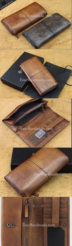 men long leather wallet men bifold vintage gray brown long wallet clutch