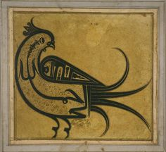 "Calligraphy In The Shape Of A Hoopoe- Bismillah ... 17th Century (1650) (iran)  The bird is a striking example of the so-called ""calligrams"", figurative imagery artfully drawn from characters, which were very popular particularly in later Islamic calligraphy. Thus, it is words such as Allah (God), Ali (the name of the fourth caliph), or the Islamic Bismallah phrase, in particular, that are transformed by means of sweeping brushstrokes into mosques, lions, swords. Here into a bird."