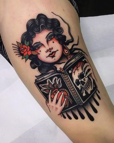 Girl, book, skull and sacred heart I did in last week, thanks so much for the trust guys! I enjoyed a lot doing this! Pin Up Girl Tattoo, Pin Up Tattoos, Head Tattoos, Badass Tattoos, Body Art Tattoos, Tattoo Drawings, Girl Tattoos, Sleeve Tattoos, Tattoo Ink