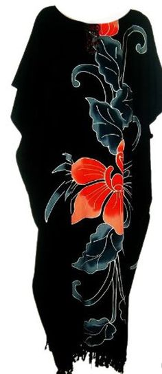 Amazon.com: Cool Kaftans New Amazing Black ORCHID Flower Kaftan Dress Floral Butter Soft Fabric: Clothing