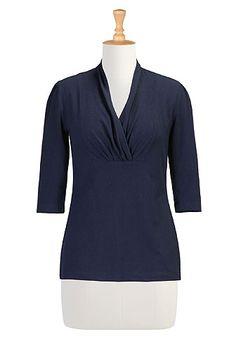 I <3 this Bib front cotton knit top from eShakti