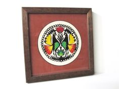 Rooster Polish Paper Cut-Out in Wood Frame, Vintage