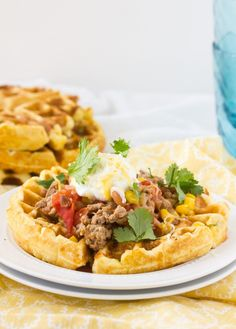 Hatch Chile Cornbread Waffles--just the waffles not the stuff on top (and prob not the hatch chiles either)