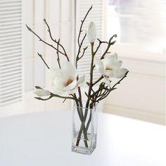 Jane Seymour Botanicals Tulip Magnolia in Square Glass Vase | Wayfair