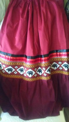 Bear Medicine women's full skirt REGALIA with black or Native American Clothing, Native American Regalia, Native American Fashion, Native Fashion, Seminole Patchwork, Jingle Dress, Traditional Outfits, Traditional Ideas, Ribbon Skirts