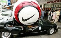 A very eye catching campaign! A giant soccer ball smashes a car for Nike Soccer marketing campaign