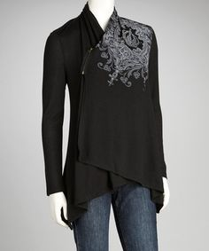 Take a look at this Black Crown Tapered Open Cardigan by Katydid Collection on #zulily today!